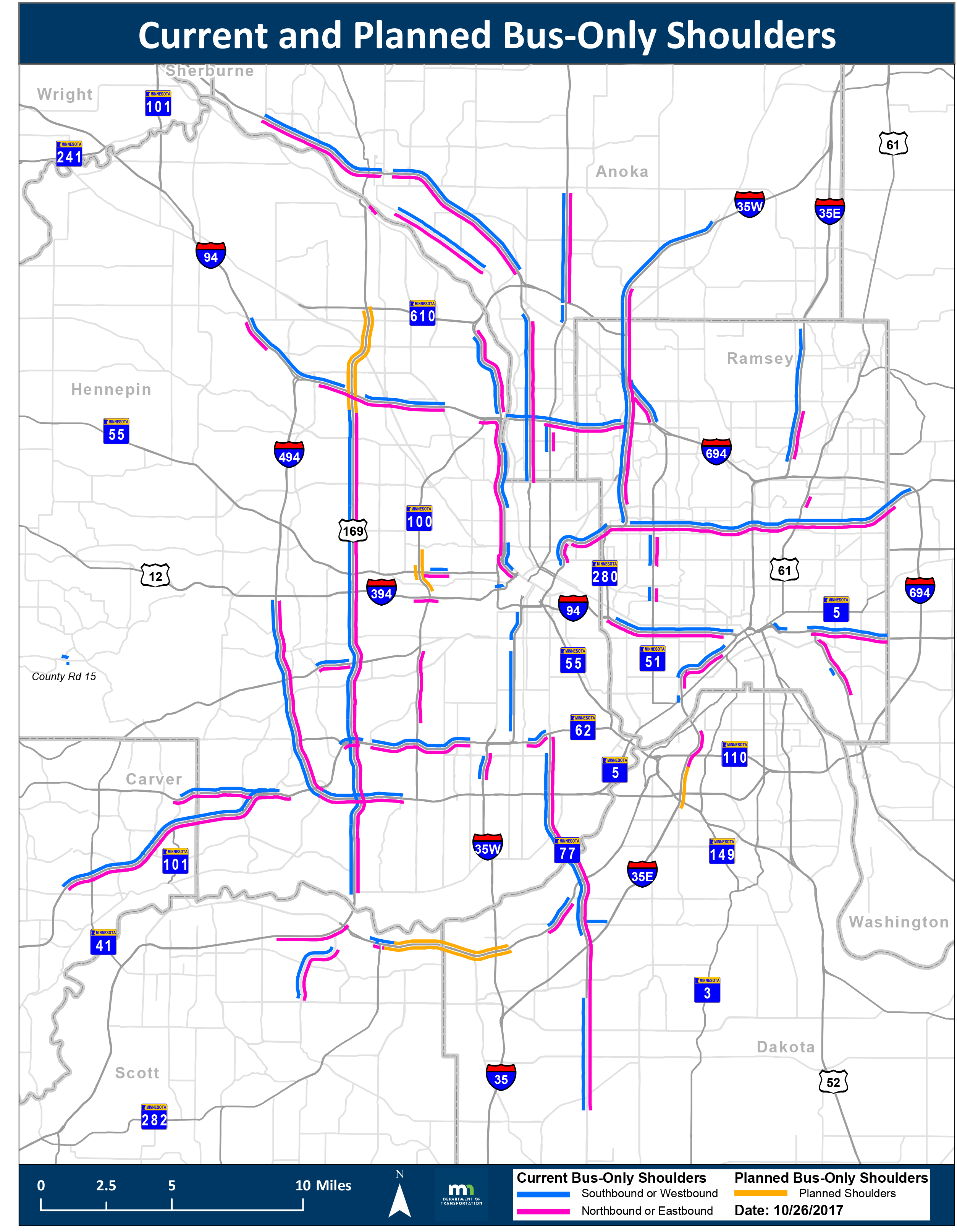 Bus-only shoulder map